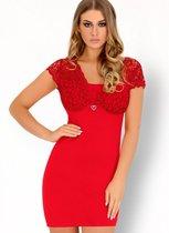 Роскошная сорочка Mishkata с кружевным верхом, цвет красный, S-M - Livia Corsetti