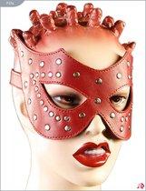 Кожаная маска с заклёпками, цвет красный - Подиум