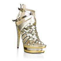 Босоножки, лакированные со стразами, цвет золотой - Hustler Shoes