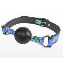 Кляп-шарик на чёрно-синих ремешках, цвет синий/черный - Sitabella