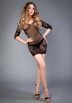 Чёрное платье-сетка с длинными рукавчиками, цвет черный - Le Frivole