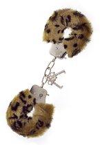 Леопардовые наручники METAL HANDCUFF WITH PLUSH LEOPARD, цвет леопард - Dream toys