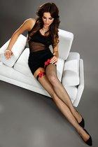 Чулки в сетку Magico с красными бантиками, цвет черный, размер S-L - Livia Corsetti