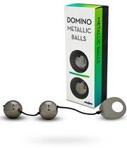 Вагинальные шарики Domino Metallic Balls хромированные, цвет черный - Seven Creations
