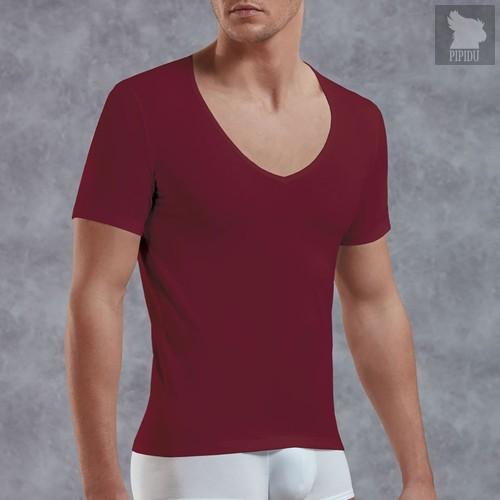 Мужская футболка с V-образным вырезом, цвет красный, S - Doreanse