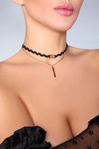 Чокер на шею с цепочкой и подвеской, цвет черный, размер OS - Livia Corsetti