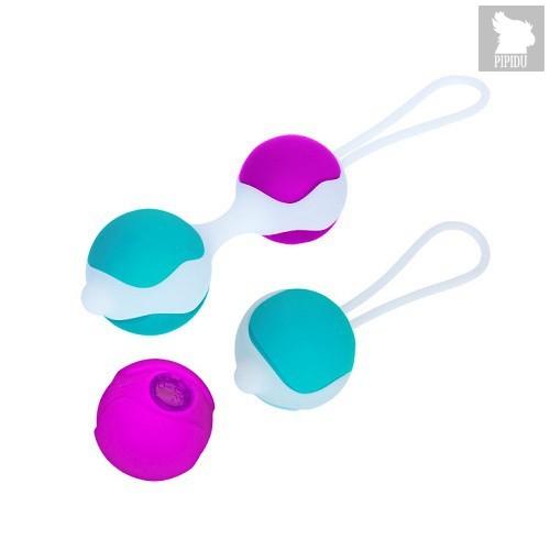 Разноцветные вагинальные шарики Orgasmic balls silicone, цвет голубой/сиреневый - Baile