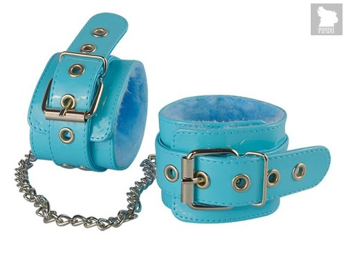 Голубые лаковые оковы с меховой отделкой, цвет голубой - Sitabella