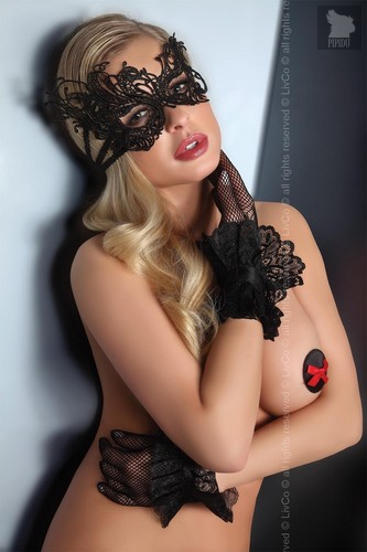 Короткие перчатки с кружевами, цвет черный - Livia Corsetti