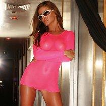 Платье-сетка Nicole утракороткое, цвет розовый, S-L - Hustler Lingerie