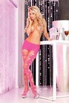 Прелестные колготочки с вырезами по всей длине ножки, цвет черный, S-L - Pink lipstick
