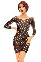 Эффектное короткое платье-сетка Ciao с длинными рукавами, цвет черный, S-M - Anais