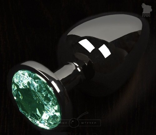 Графитовая анальная пробка с зеленым кристаллом - 6 см., цвет зеленый - Пикантные штучки