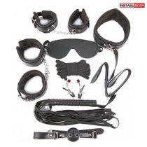 Большой игровой набор БДСМ: наручники, оковы, маска, кляп, плеть, ошейник с поводком, верёвка, зажимы для сосков, цвет черный - Bioritm