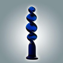 Нереалистичный фаллоимитатор. Стекло №65, цвет синий - МиФ
