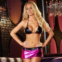 Лиф и юбочка из блестящей ткани, цвет розовый/черный, S-L - Hustler Lingerie