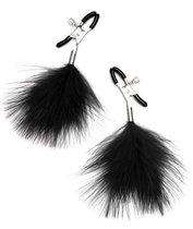 Зажимы для сосков с черными перьями, цвет черный - Lux Fetish