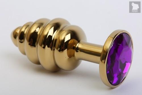 Золотистая ребристая анальная пробка с фиолетовым стразом - 7,3 см. - 4sexdreaM