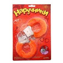 Металлические наручники с оранжевой плюшевой отделкой, цвет оранжевый - Сима-Ленд