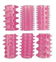 Набор из 6 розовых насадок на пенис - 5,5 см., цвет розовый - Bioritm