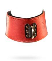 Красный кожаный ошейник на мягкой подкладке, цвет красный - Подиум