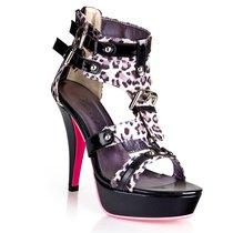 Босоножки с леопардовым рисунком, цвет серый - Hustler Shoes