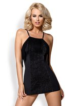 Эротическое платье с бахромой и люрексом, цвет черный, размер L-XL - Obsessive