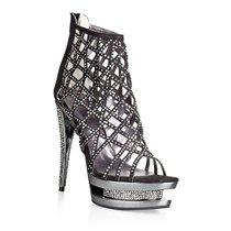 Туфли-босоножки Glare, с кристаллами, цвет черный - Hustler Shoes