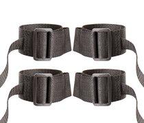 Регулируемые манжеты на запястья и лодыжки с лентами для фиксации, цвет черный - Blush Novelties