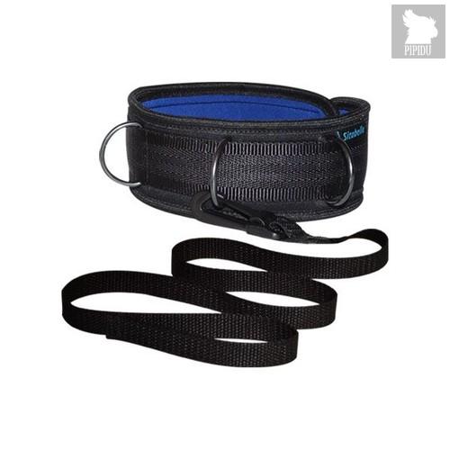 Чёрно-синий ошейник из неопрена с поводком, цвет синий/черный - Sitabella
