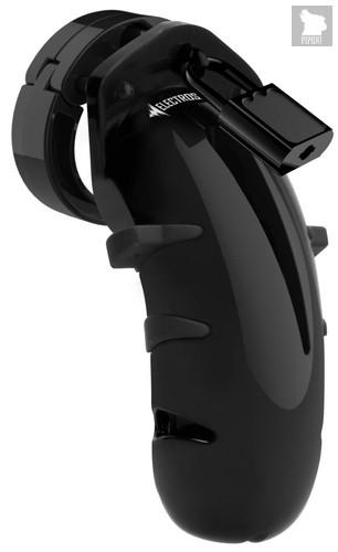 Черный мужской пояс верности с электростимуляцией E-stim Cockcage, цвет черный - Shots Media