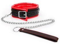 Красно-черный ошейник с ремешком на металлическом поводке, цвет красный/черный - Bioritm