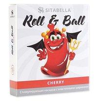 Стимулирующий презерватив-насадка Roll & Ball Cherry, цвет красный - Sitabella