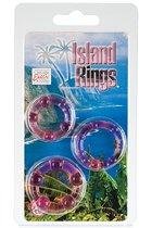 Набор из трех розовых колец разного размера Island Rings, цвет розовый - California Exotic Novelties