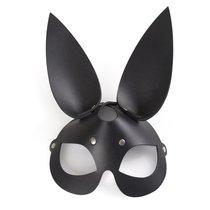 Чёрная кожаная маска с длинными ушками, цвет черный - Sitabella