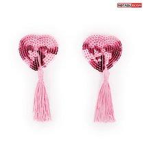 Розовые текстильные пестисы в форме сердечек с кисточками, цвет розовый - Bioritm