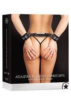Регулируемые черные кожаные наручники OUCH!, цвет черный - HOT