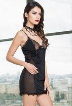 Изысканная кружевная сорочка Glamour, цвет черный - Mia-Mia