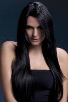 Темноволосый парик с косой чёлкой Amber, цвет черный - Fever