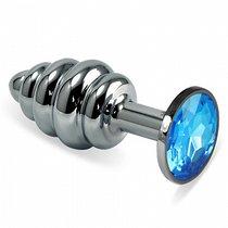 Анальная пробка Metall Curly 2,9 с кристаллом, цвет голубой/серебряный - Luxurious Tail