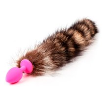 Анальная пробка Silicone Striped Tail - Pink с хвостом - Luxurious Tail