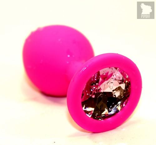 Пробка силиконовая розовая с розовым стразом 8,2х3,5см 47410-1MM - 4sexdreaM
