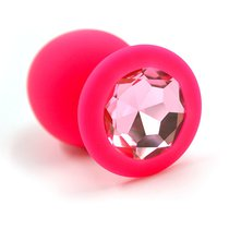 Анальная пробка со стразом Silicone Pink - Large, цвет розовый/светло-розовый - Kanikule