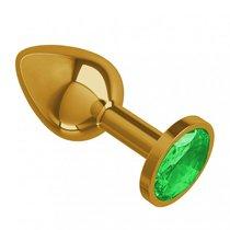 Золотистая анальная пробка с зеленым кристаллом - 7 см, цвет зеленый/золотой - МиФ