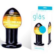 Яркая стеклянная пробка для анальной стимуляции, 9 см, цвет разноцветный - Gläs