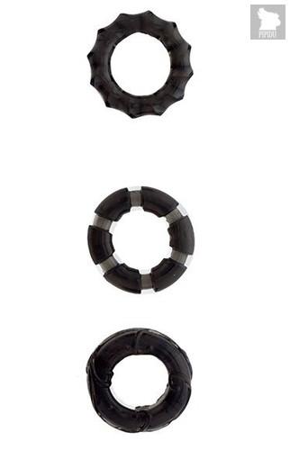 Набор из 3 чёрных эрекционных колец MENZSTUFF STRETCHY COCK RINGS, цвет черный - Dream toys