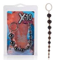 Анальная цепочка X-10 Beads, цвет черный - California Exotic Novelties