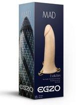 Телесный полый мужской страпон MAD - 17 см., цвет телесный - Egzo