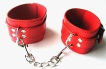 Красные оковы на ноги на цепочке с карабинами, цвет красный - Bioritm