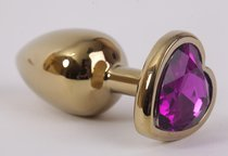 Анальная пробка золото 7,5х2,8см с сердечком фиолетовый страз 47192-MM - Eroticon